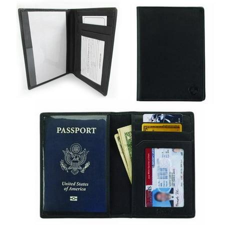 Lewis Leather - 1 Lewis N Clark Mens RFID Blocking Leather Passport Travel Case Wallet Organizer