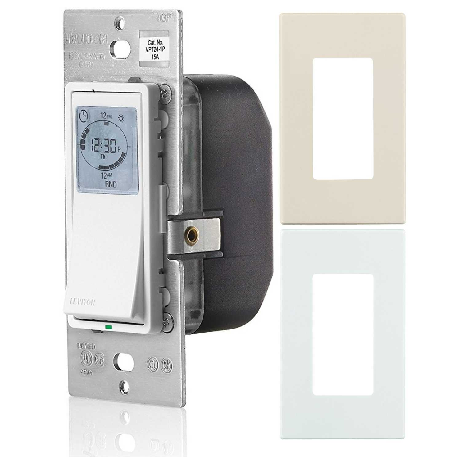 Leviton Vizia 24-Hour Programmable Indoor Timer with Snap-on Wall Plates by Leviton