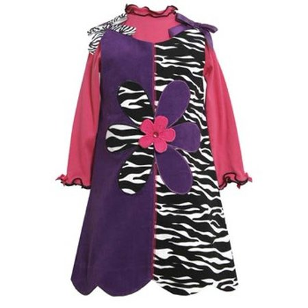Bonnie Jean 4-6x Purple to Zebra Corduroy Jumper Dress (Corduroy Print Jumper)