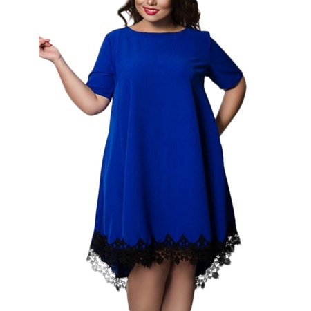 Lavaport - Lavaport Women Lace Hem Splice Short Sleeve Plus Size Dress -  Walmart.com