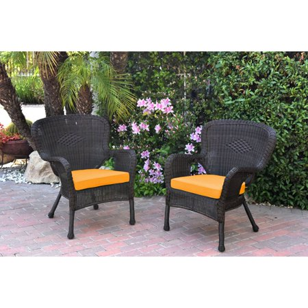 Jeco Windsor Resin Wicker Outdoor Patio Arm Chair - Set of 2 ()