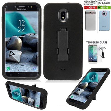 Phone Case For Samsung Galaxy J3 Orbit, J3 Top, J3 Mission-2, J3 3rd Gen, J3 Achieve, J3 Star, Express Prime 3, J3-2018 Tempered Glass (Armor Black-Black Stand/ Tempered (Samsung Galaxy Express 3 Price In India)