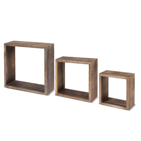 wood square shadow boxes (set of 3) wall mounted floating