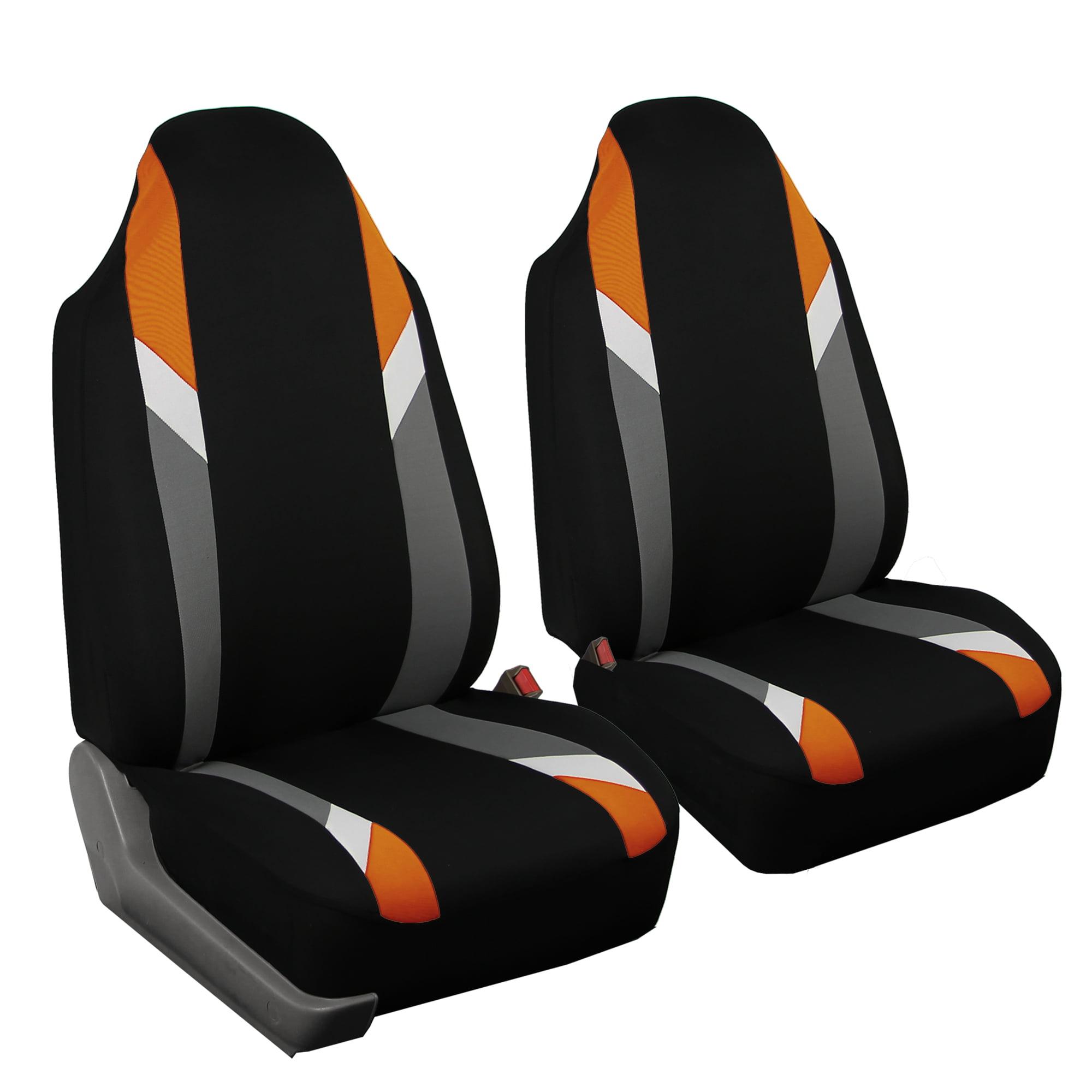 FH GROUP Premium Modernistic Front Set Car Seat Covers, Orange