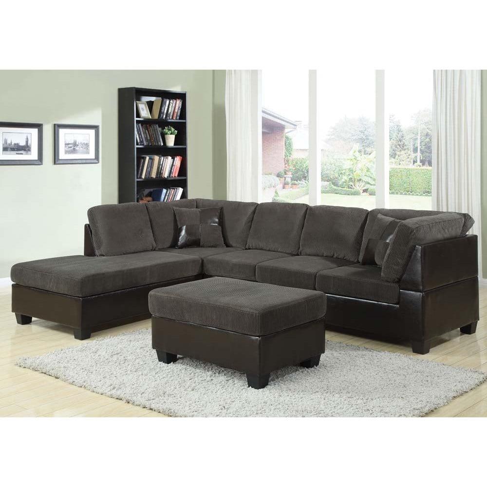Acme Bursa Crestline Corduroy Sectional Sofa Set With Pillows, And Matching  Ottoman