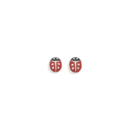 Lady Bug Post Stud Earrings Black and Red Enamel Sterling Silver