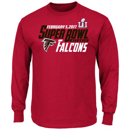 Atlanta Falcons Majestic Nfl Super Bowl Li 51  Hash Mark  L S Mens T Shirt