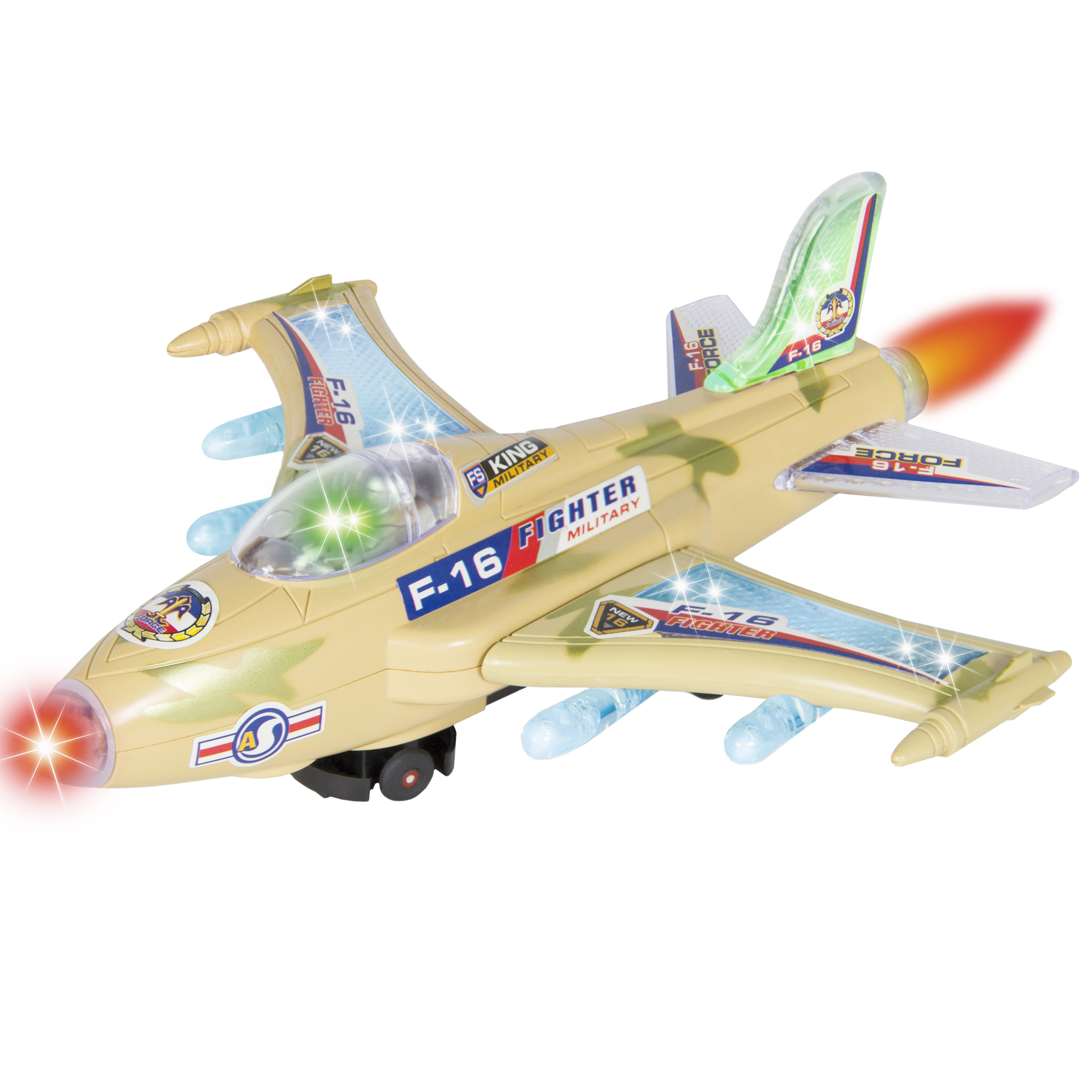 Kids Toy F-16 Figher Jet Airplane, Flashing Lights and Sound, Bump and Go Action