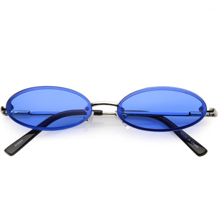 Retro Small Rimless Oval Sunglasses Slim Arms Color Tinted Lens 54mm (Silver / Blue)