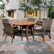 Warner 5-Piece Eucalyptus/Wicker Round Dining Set with Cushions