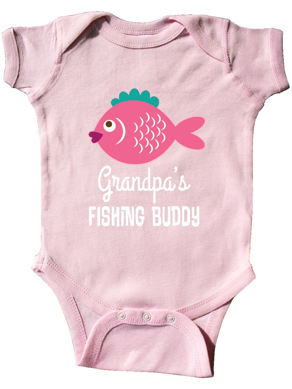 Blue Long Sleeve Creeper inktastic Grandpas Fishing Buddy