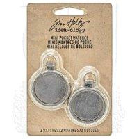 "Idea-Ology Mini Pocket Watch Frames, 1"", 2pk, Antique Nickel"