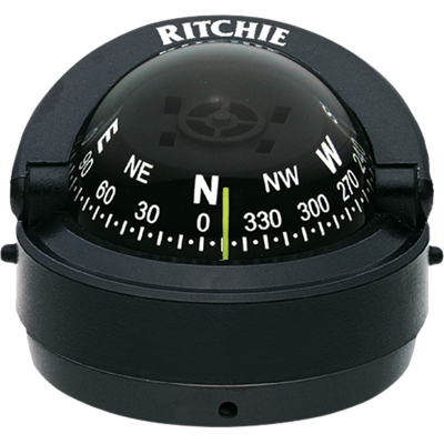 New Marine Explorer Compass Black Surface Mount for Boat & Rv - Ritchie S-53 FO-3498