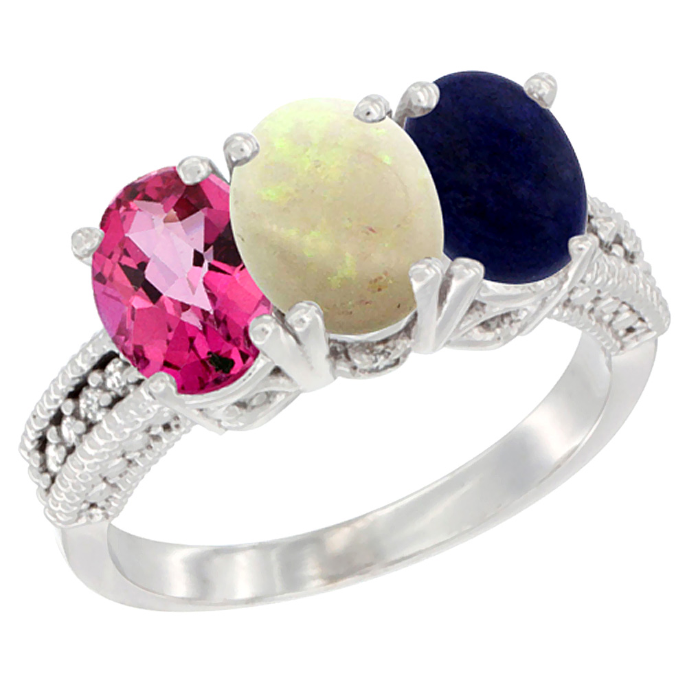 10K White Gold Natural Pink Topaz, Opal & Lapis Ring 3-Stone Oval 7x5 mm Diamond Accent, sizes 5 10 by WorldJewels