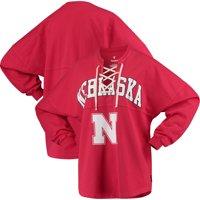 Nebraska Cornhuskers Women's Lace-up Spirit Jersey Long Sleeve T-Shirt - Scarlet