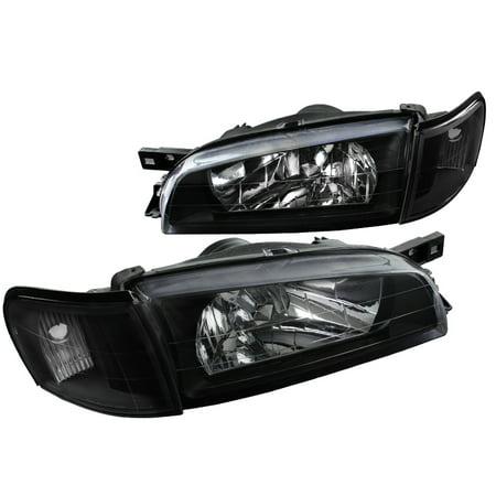 Spec-D Tuning 1995-2001 Subaru Impreza Wrx Black Headlights + Clear Corner Turn Signal Lamps (Left + Right) 1995 1996 1997 1998 1999 2000 2001 1997 1998 Fog Light