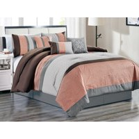 7-Pc Colette Floral Scroll Embossed Weaves Pintuck Pleats Comforter Set Peach Pink Gray Brown Queen