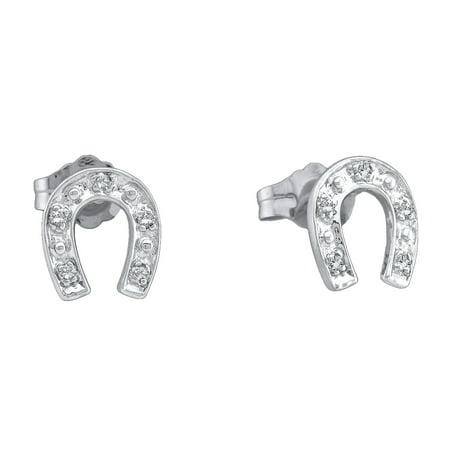 10k White Gold Round Diamond Horseshoe Back Stud Earrings 1 20 Cttw