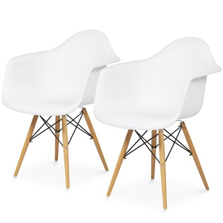 Best Choice Products Mid-Century Modern Eames Style Accent Arm Chairs for Dining, Office, Living Room, Set of 2, White