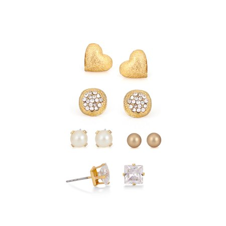 TAZZA WOMEN'S FAUX PEARL AND CRYSTAL HEART ROUND SQUARE GOLD STUD SET OF 5 STUD EARRINGS VALENTINE'S DAY GIFT IDEA FOR HER