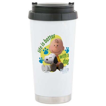 CafePress - Snoopy - Life Is Better Stainless Steel Travel Mug - Stainless Steel Travel Mug, Insulated 16 oz. Coffee Tumbler](Snoopy Halloween Tumblr)