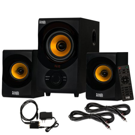 Acoustic Audio AA2170 Bluetooth 2.1 Home Speaker System with Optical Input and 2 Extension Cables ()