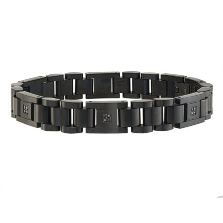 Mens 1 10ct Black Diamond Bracelet In Stainless Steel