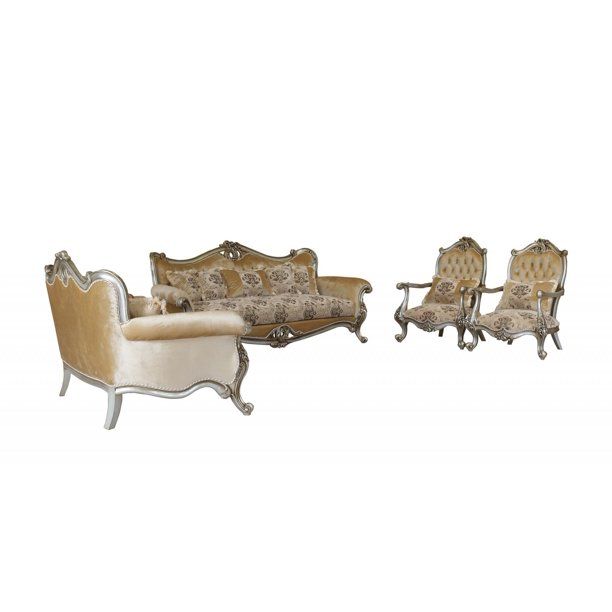 Luxury Antique Silver Wood Trim Valeria Sofa Set 4 European Furniture Classic Walmart Com Walmart Com
