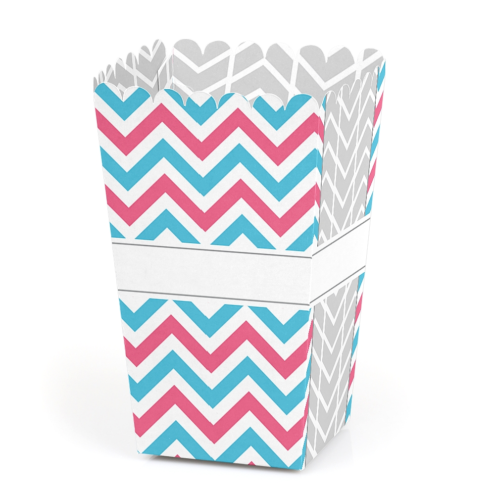 Chevron Gender Reveal - Baby Shower Party Favor Popcorn Treat Boxes - Set of 12