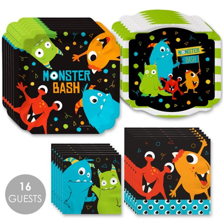 Monster Bash - Little Monster Birthday Party or Baby Shower Tableware Plates and Napkins - Bundle for 16 - Elephant Baby Shower Plates And Napkins