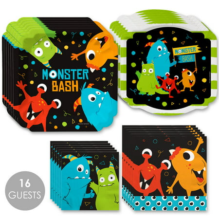 Monster Bash - Little Monster Birthday Party or Baby Shower Tableware Plates and Napkins - Bundle for 16