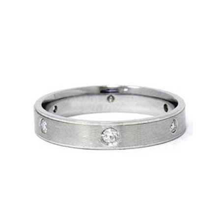 Platinum Comfort Fit Diamond Brushed Wedding Ring Band