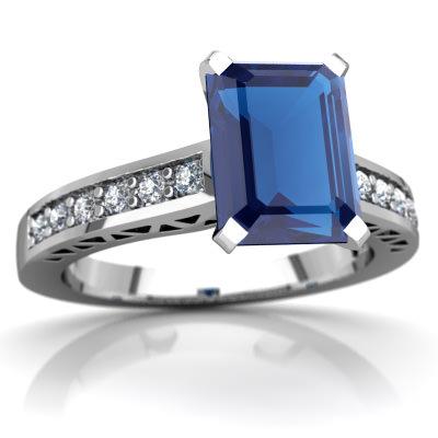 London Topaz Art Deco Ring in 14K White Gold by