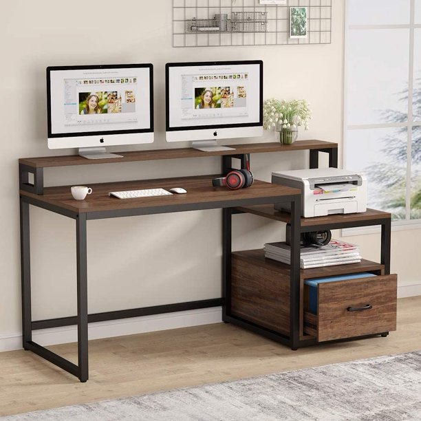 Tribesigns Computer Desk with File Drawer and Storage Shelves, 59