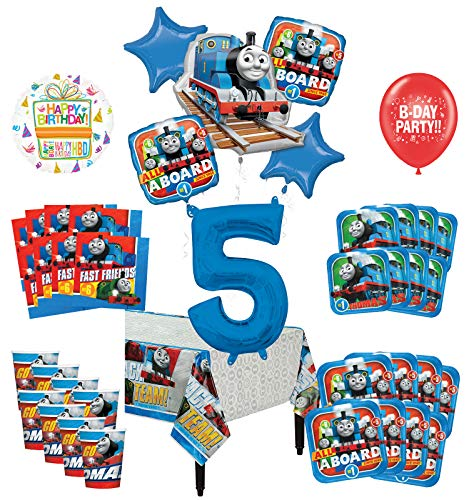 Mayflower Products Thomas The Train Tank Engine 5th Birthday Party Supplies 8 Guest Decoration Kit and Balloon Bouquet - Train Balloons