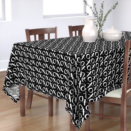 Image of Tablecloth Valentine Holiday Love Kiss Hugs Kisses Winter Cotton Sateen