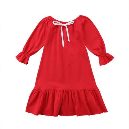 b588fa1dbb72 Faithtur - Toddler Kids Girls Spring Jersey Dress Long Speaker Sleeve Tulle  Tutu Longuette Nightgown Dresses Outfit - Walmart.com