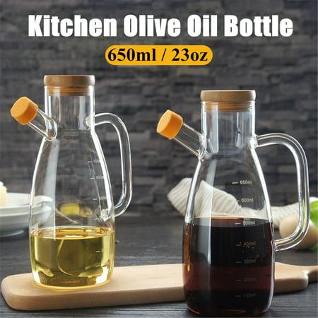 Moaere 650ml Olive Dispensers Oil Bottle Kitchen Leak Proof Glass Pot Bottle with Handle Wood Stopper for Oil Vinegar Sauce