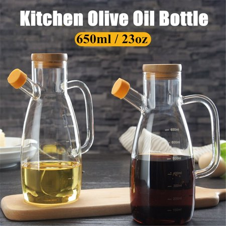 Moaere 650ml Olive Dispensers Oil Bottle Kitchen Leak Proof Glass Pot Bottle with Handle Wood Stopper for Oil Vinegar Sauce Water