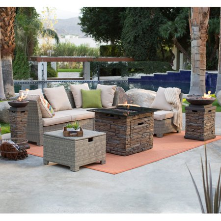 Coral Coast South Isle Natural Sectional Set with Coronado Gas Fire Pit Table ()
