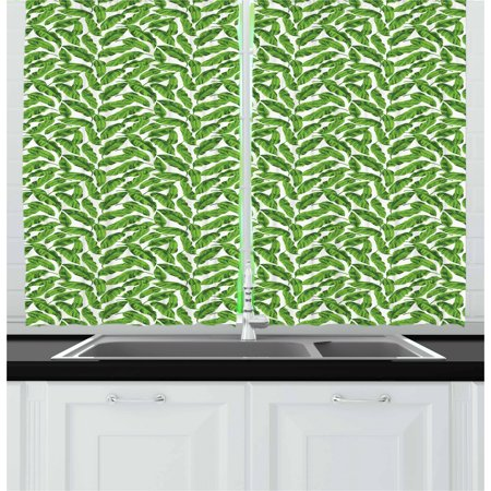 Banana Leaf Curtains 2 Panels Set, Vibrant Foliage from Madagascar Island Lively Green Nature Themed Art, Window Drapes for Living Room Bedroom, 55W X 39L Inches, Lime Green White, by Ambesonne for $<!---->