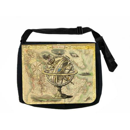 Ancient Globe Black Laptop Shoulder Messenger Bag