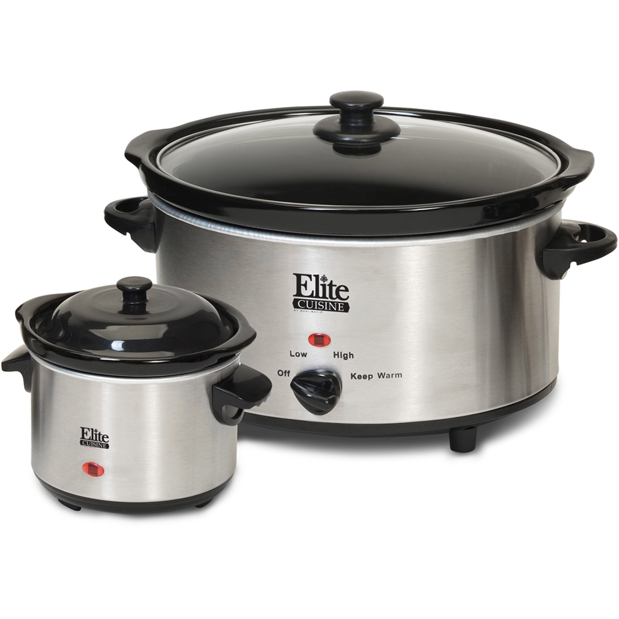 Elite Cuisine MST-500D 5 qt Slow Cooker with Mini Dipper, Stainless Steel