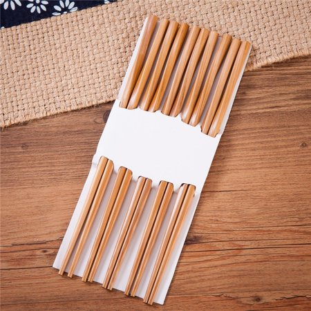10 (5 pairs) Durable Twist Bamboo Chopsticks