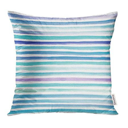 BSDHOME Colorful Color Abstract Watercolor Blue and Teal Striped White Wave Paint Water Pillowcase Cushion Cover 20x20 inch - image 1 de 1
