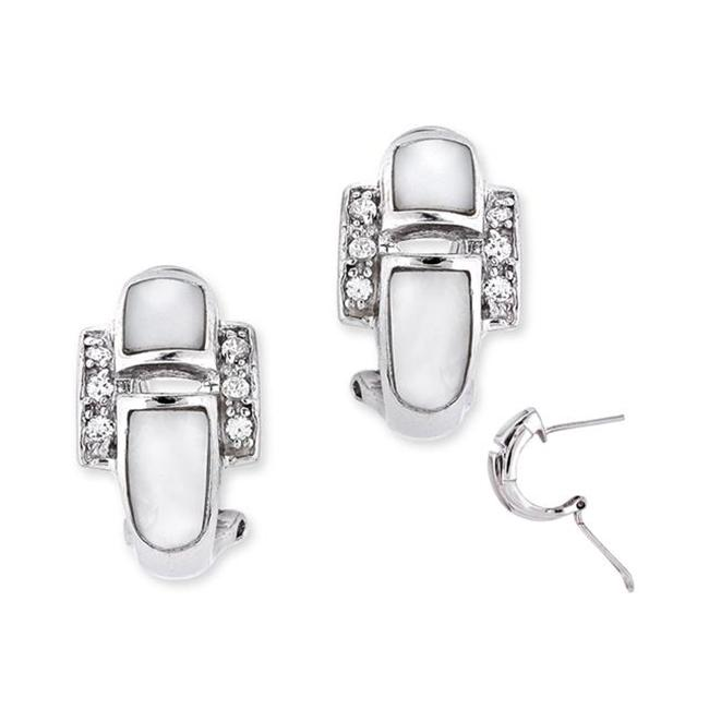 CZ EAR1280 White Mother-Of-Pearl C. Z.  Diamond Sterling Silver Clip With Post Earrings