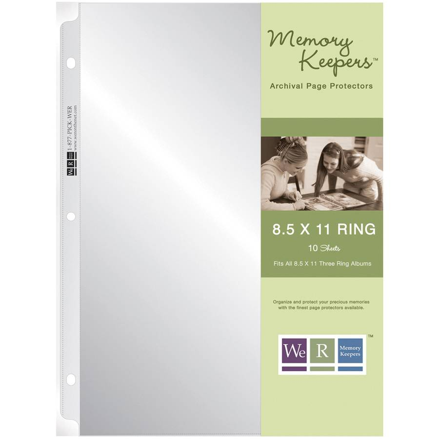 """We R Ring Photo Sleeves, 8.5"""" x 11"""", 10pk, Full Page"""
