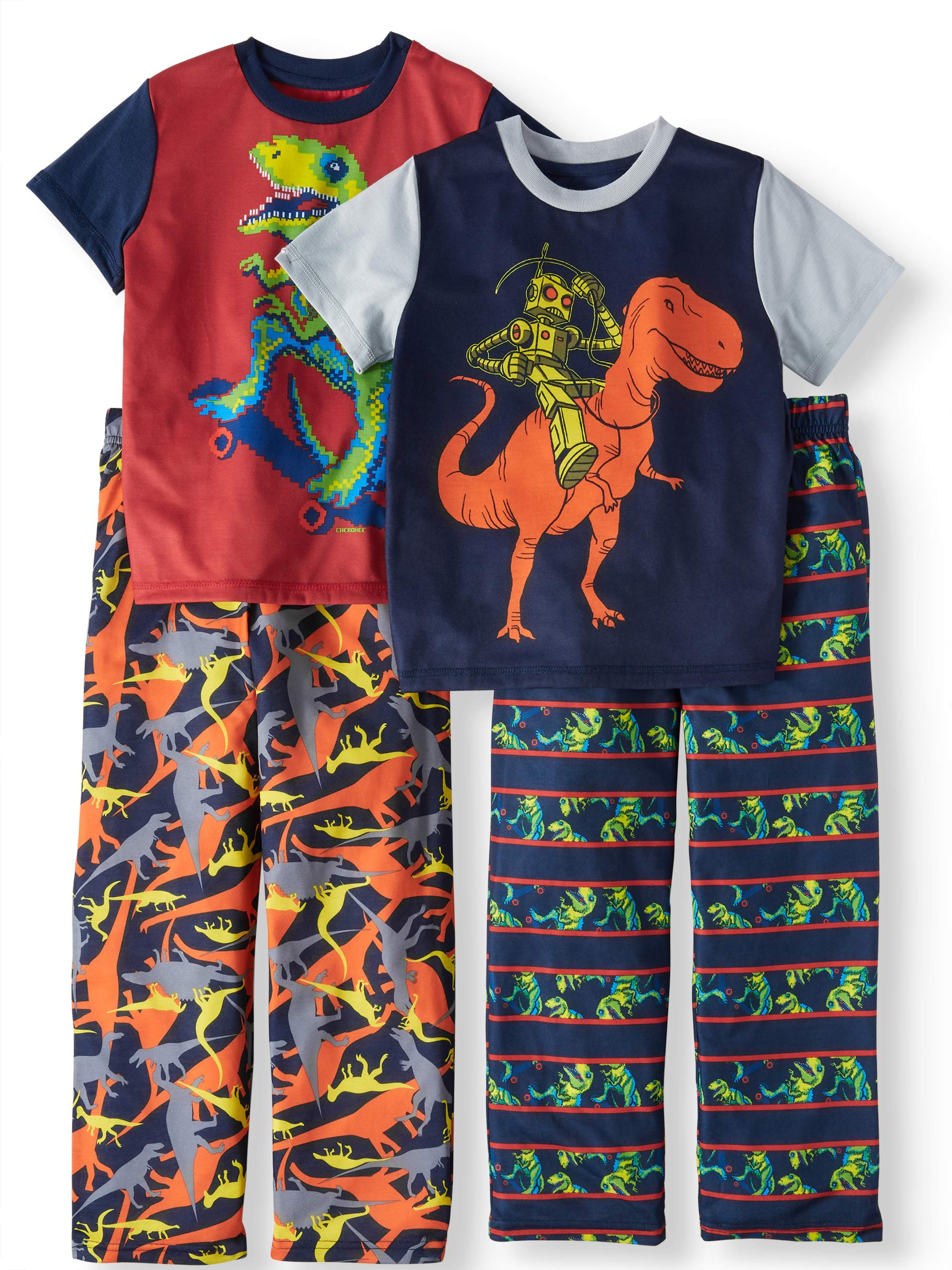 Boys' Dinosaur And Robot Riding Dinosaur 4 Piece Sleep Set