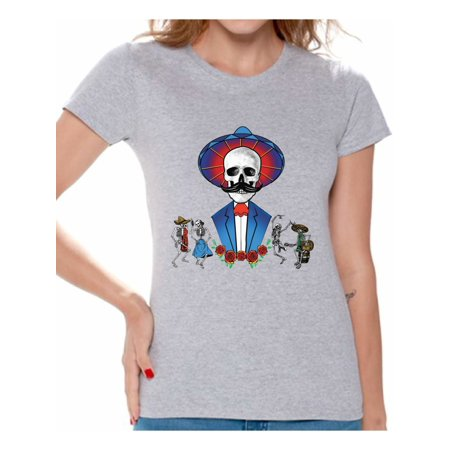 59aab75f Awkward Styles Mustache Skull Tshirt for Women Sugar Skull Shirts Dia de  los Muertos Outfit Mexican Skull T Shirt Day of the Dead Gifts for Her  Mexican ...
