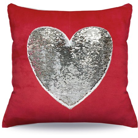 Mainstays Sequin Heart Decorative Pillow